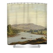 Landscape With River Shower Curtain by Sanford Robinson Gifford
