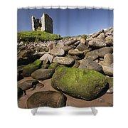 Minard Castle And Rocky Beach Minard Shower Curtain by Trish Punch