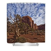 Morning Clouds Over Monument Valley Shower Curtain by Robert Postma