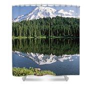 Mt Rainier Reflected In Lake Mt Rainier Shower Curtain by Tim Fitzharris