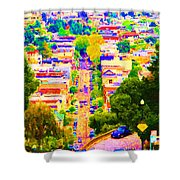Noe Street In San Francisco 2 Shower Curtain by Wingsdomain Art and Photography