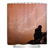 Praying Monk Camelback Mountain Lightning Monsoon Storm Image Tx Shower Curtain by James BO  Insogna