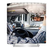 Rear-view Mirror Shower Curtain by Photo Researchers