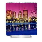 Red River And Downtown Winnipeg Shower Curtain by Dave Reede