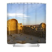 Ruins Of Shivta Byzantine Church Shower Curtain by Nir Ben-Yosef