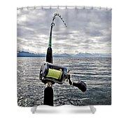 Salmon Fishing Rod Shower Curtain by Darcy Michaelchuk