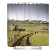Scottish Borders, Scotland Tire Tracks Shower Curtain by John Short