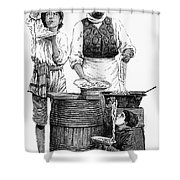 Spaghetti Vendor Shower Curtain by Granger