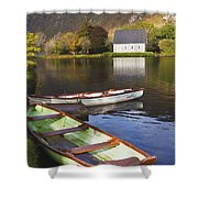 St. Finbarres Oratory And Rowing Boats Shower Curtain by Ken Welsh