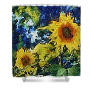 Sunflowers Shower Curtain by Michelle Calkins