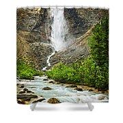 Takakkaw Falls Waterfall In Yoho National Park Canada Shower Curtain by Elena Elisseeva