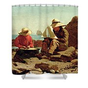 The Boat Builders Shower Curtain by Winslow Homer