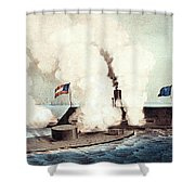 The Monitor And The Merrimac, 1862 Shower Curtain by Photo Researchers