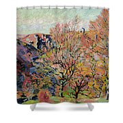 The Valley Of The Sedelle In Crozant Shower Curtain by Jean Baptiste Armand Guillaumin