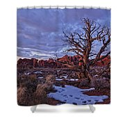 Timed Exposure Of Sunset Clouds Shower Curtain by Robert Postma