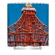Tokyo Tower Faces Blue Sky Shower Curtain by Ulrich Schade