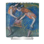 Two Dancers Shower Curtain by Edgar Degas