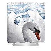 White Swan On Water Shower Curtain by Elena Elisseeva