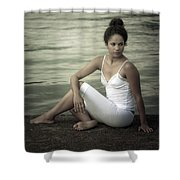 Woman At A Lake Shower Curtain by Joana Kruse