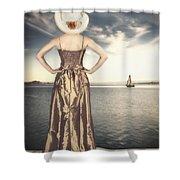 Woman At The Lake Shower Curtain by Joana Kruse
