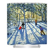 Woodland In Winter Shower Curtain by Andrew Macara