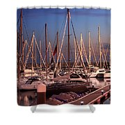 Yacht Marina Shower Curtain by Carlos Caetano