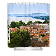Zemun Rooftops In Belgrade Shower Curtain by Elena Elisseeva