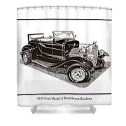 1930 Ford Model A Roadster Shower Curtain by Jack Pumphrey