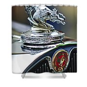 1931 American Austin Roadster Hood Ornament Shower Curtain by Jill Reger