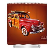 1947 Woody Shower Curtain by Jim Carrell