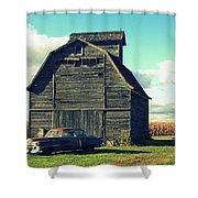 1950 Cadillac Barn Cornfield Shower Curtain by Lyle Hatch