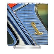 1955 Lincoln Capri Emblem Shower Curtain by Jill Reger