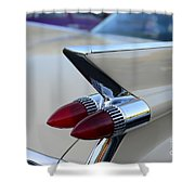 1958 Cadillac Tail Lights Shower Curtain by Paul Ward
