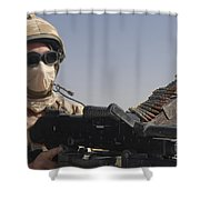 A British Army Soldier Mans A Machine Shower Curtain by Andrew Chittock