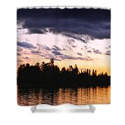 Dramatic Sunset At Lake Shower Curtain by Elena Elisseeva