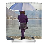 Girl With Umbrella Shower Curtain by Joana Kruse