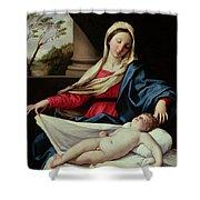 Madonna And Child Shower Curtain by Il Sassoferrato