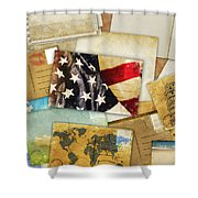 Postcard And Old Papers Shower Curtain by Setsiri Silapasuwanchai