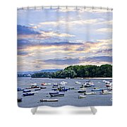 River Boats On Danube Shower Curtain by Elena Elisseeva