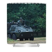 The Pandur Recce Vehicle In Use Shower Curtain by Luc De Jaeger