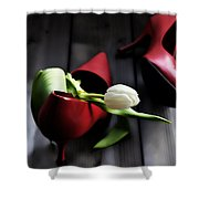 White And Red Shower Curtain by Joana Kruse