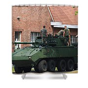 A Belgian Army Piranha IIic Shower Curtain by Luc De Jaeger