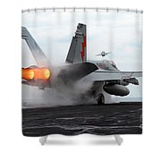 An Fa-18c Hornet Launches Shower Curtain by Stocktrek Images