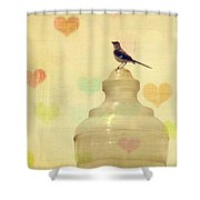 Heartsong Shower Curtain by Amy Tyler