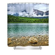 Mountain lake in Jasper National Park Shower Curtain by Elena Elisseeva