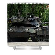 The Leopard 1a5 Mbt Of The Belgian Army Shower Curtain by Luc De Jaeger