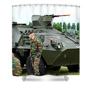 The Pandur 6x6 Family Of Wheeled Shower Curtain by Luc De Jaeger