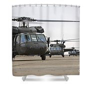 Uh-60 Black Hawks Taxis Shower Curtain by Terry Moore