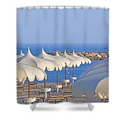 Umbrellas In The Sun Shower Curtain by Joana Kruse