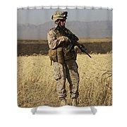 U.s. Marine Patrols A Wadi Near Kunduz Shower Curtain by Terry Moore